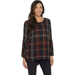 NEW Susan Graver Plaid Pleated Sleeve Top 14 Black